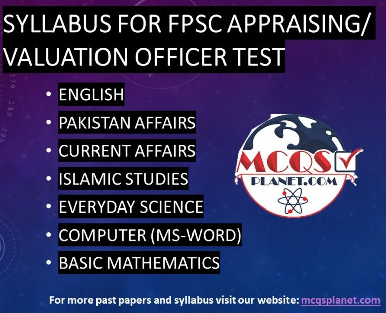 Syllabus for FPSC Appraising/Valuation Officer Test